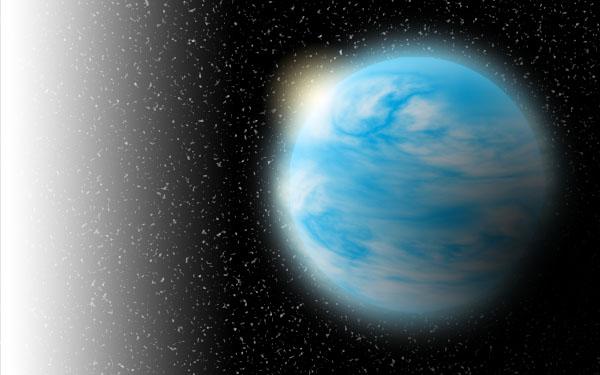 海洋惑星(水の地球型惑星)のイメージイラスト。惑星全体に広がる海 こういった太陽系外惑星の謎を明